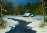 Fall River Scenes Painting Posters - First  Snow  Poster by Shasta Eone