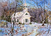 New England Snow Scene Painting Framed Prints - First Snow Framed Print by Sherri Crabtree