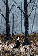 Collie Painting Framed Prints - First Snow Framed Print by Todd Young