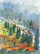 Snowy Trees Paintings - First Snow by Walt Brodis
