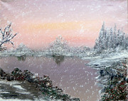 Snowfall Paintings - First Snowfall by Alys Caviness-Gober