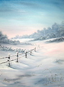 Dog Walking Painting Posters - First Snows Poster by Jean Walker