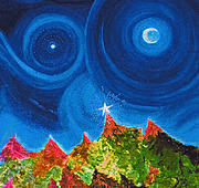 Star Of Bethlehem Painting Posters - First Star Christmas Wish by jrr Poster by First Star Art