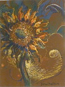 Blue Flowers Pastels - First Sunflower by Ellen Dreibelbis