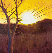 Mississippi River Painting Originals - First Sunset of Spring by Garry McMichael
