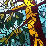 Branches Glass Art Posters - First tree Poster by Catherine Van Der Woerd