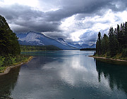 Cloudscape Photographs Framed Prints - First View of Lake Maligne Framed Print by Janet Ashworth
