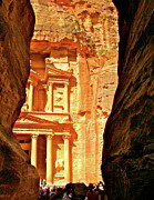 Jordan Trail Framed Prints - First View of Treasury from Gorge Exit into Petra-Jordan Framed Print by Ruth Hager