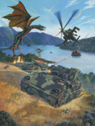Science Fiction Painting Prints - First Wave - Clash at Pyramid Lake Print by Stu Shepherd