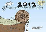 End Of The Strip Art - Fiscal Cliff and Mayan Calendar cartoon by OptionsClick BlogArt