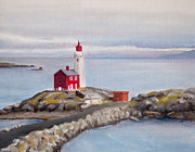Victoria Painting Originals - Fisgard Lighthouse by Andrea Vreken