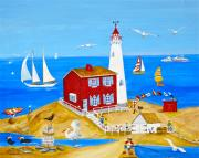 Visual Artist Painting Originals - Fisgard Lighthouse by Virginia Ann Hemingson