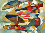 Famous Fish Abstract Paintings - Fish 1 by Danielle Nelisse
