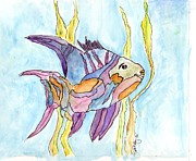 Tropical Fish Tapestries - Textiles Posters - Fish 1 Poster by Diane Maley