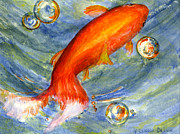 Artwork Framed Prints - Fish and Bubbles From Watercolor Framed Print by Lenora  De Lude