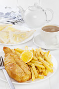 Tea Cup Prints - Fish and Chips Supper Print by Colin and Linda McKie