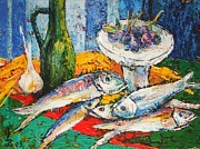 Vinegar Painting Framed Prints - Fish and food still life Framed Print by Siang Hua Wang