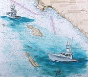 Sport Fish Painting Posters - Fish Boat Blue Bill Catalina Island CA Chart Map Art Peek Poster by Cathy Peek