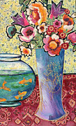 Table Cloth Mixed Media Metal Prints - Fish Bowl and Posies Metal Print by Diane Fine