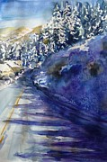 Cold Morning Sun Paintings - Fish Creek Falls Rd Jan 13 by Karen Lindeman