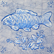 Netherlands Paintings - Fish Delft Blue by Raymond Van den Berg