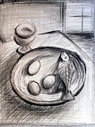 Food And Drink Originals - Fish Eggs And Wine by Frederick   Luff  Gallery