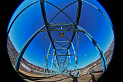 Metal Bridge Posters - Fish Eye View of Walnut Street Bridge Poster by Tom and Pat Cory