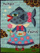 Folk  Paintings - Fish Girl by LuLu Mypinkturtle