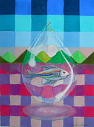Featured Mixed Media Prints - Fish in a Drop Print by R Neville Johnston
