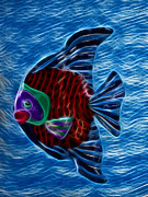 Fractalius Mixed Media Framed Prints - Fish In Water Framed Print by Shane Bechler
