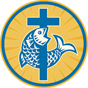 Religious Digital Art Prints - Fish Jumping With Cross Retro Print by Aloysius Patrimonio