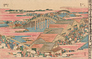 Japanese Village Prints - Fish Market by River in Edo at Nihonbashi Bridge  Print by Hokusai