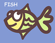 Twins Digital Art Prints - Fish Print by Nursery Art