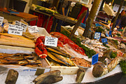 Bass Bridge Framed Prints - Fish Stall Borough Market Framed Print by David French