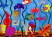 Embroidered Tapestries - Textiles - Fish Tale by Jean Baardsen