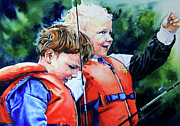 Boys Fishing Poles Print Posters - Fish Tales Poster by Hanne Lore Koehler