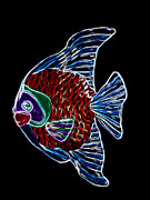 Bright Colors Mixed Media Prints - Fish Tales Print by Shane Bechler