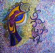 Egg Tempera Paintings - FIsh Totem by Catherine Meyers
