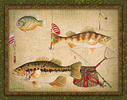 Fishing Flies Paintings - Fish Trio-A-GreenBorder by Jean Plout