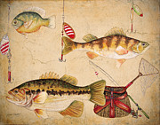 Fishing Flies Paintings - Fish Trio-A by Jean Plout