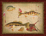 Fishing Flies Paintings - Fish Trio-A-Red Border by Jean Plout