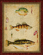 Fishing Flies Paintings - Fish Trio-C-RED by Jean Plout