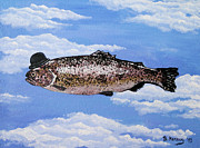 Wolken Painting Prints - Fish with Bowler Print by Bela Manson