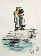 Sea Shore Drawings Prints - Fish wives - Waiting for days catch Print by Pg Reproductions