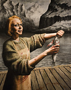Mountains Painting Originals - Fish Woman by Mark Zelmer