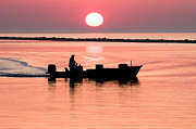 Fisherman At Sunrise Apalachicola Bay Florida  Print by Bill Swindaman