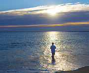 Casting Photos - Fisherman at Sunrise by Diane Diederich