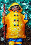 Folk Art Reliefs Prints - Fisherman Bob Print by Alison  Galvan