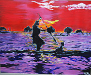 Water Vessels Paintings - Fisherman by Hiten Mistry