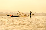 Entrapment Posters - Fisherman in inle lake - Myanmar Poster by Luciano Mortula